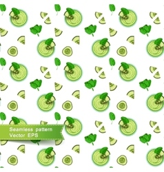 Seamless pattern with green smoothies and vector