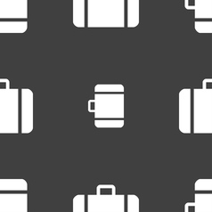 Suitcase icon sign seamless pattern on a gray vector
