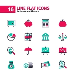 Business icon set in flat line style vector