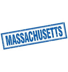Massachusetts blue square grunge stamp on white vector