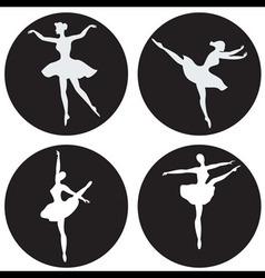 Dancing ballerina silhouettes vector