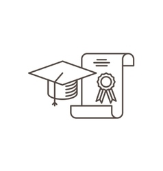 Graduation cap and diploma - vector