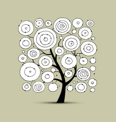 Abstract circles tree sketch for your design vector