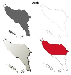 Aceh blank outline map set vector