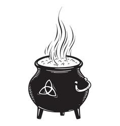 boiling magic cauldron vector image vector image