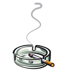 cigarette in ashtray vector image vector image