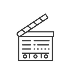Clapperboard - line design single isolated icon vector