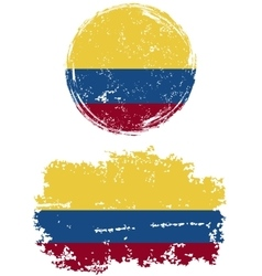 Colombian round and square grunge flags vector