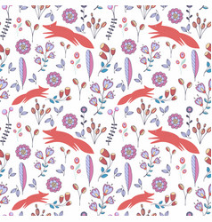 cute stylized seamless pattern with flowers and vector image vector image