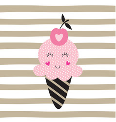 Cute with funny ice cream vector
