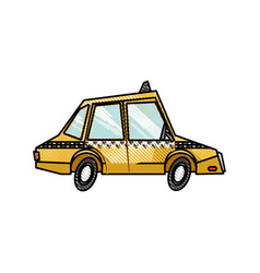 Drawing taxi car public service transport design vector