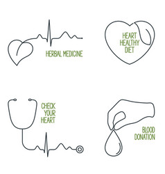 Heart health icons set vector