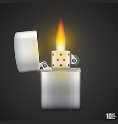 Lighter with fire vector