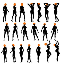 Naked girls silhouette set vector