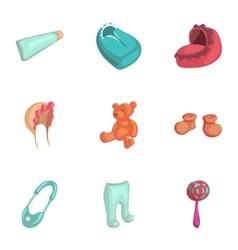 Newborn care icons set cartoon style vector image