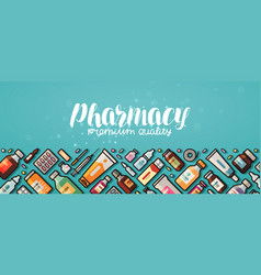 pharmacy banner medicine medical supplies vector image vector image
