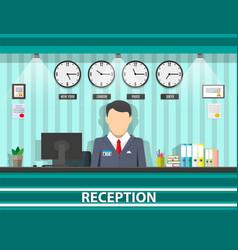 Reception with receptionist interior vector