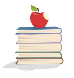 Red apple on a stack of books vector