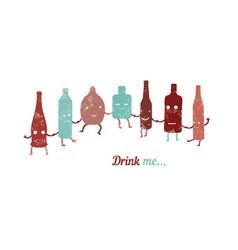 Retro poster drink me set of funny bottles vector