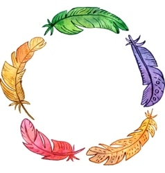 Round frame with watercolor feathers vector
