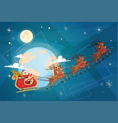 santa claus flying in sleigh in sky with reindeers vector image