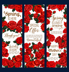Spring flowers mother day greeting banners vector