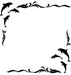 square monochrome frame with dolphins vector image vector image