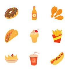 Tasty fast food icons set cartoon style vector