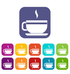 Tea cup and saucer icons set flat vector