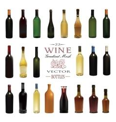 Various types of wine bottles vector