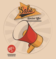Vintage megaphone marketing sale special offer vector