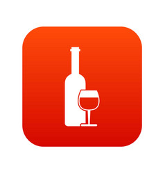wine bottle and glass icon digital red vector image