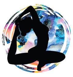 women silhouette one-legged king pigeon yoga pose vector image