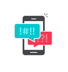 Argue chat bubbles on mobile phone icon vector