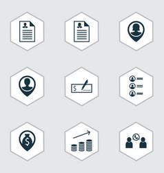 set of 9 hr icons includes money navigation job vector image