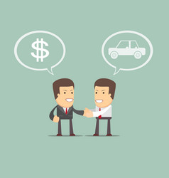 car sales - auto dealer with new owner vector image