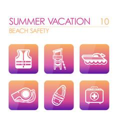 lifeguard beach safety icon set summer vacation vector image