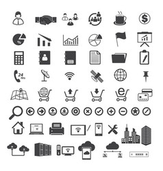 Big data and business icons set vector