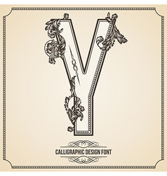 Calligraphic font Letter Y vector image