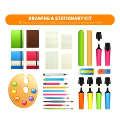Stationary kit of supplies for drawing and writing vector
