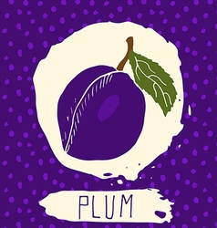 Plum hand drawn sketched fruit with leaf on vector