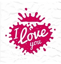 I love you lettering in heart shape splash vector