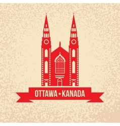 Notre dame cathedral in ottawa vintage vector
