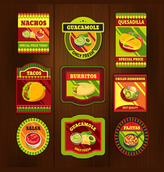 Mexican Food Bright Colorful Emblems vector image