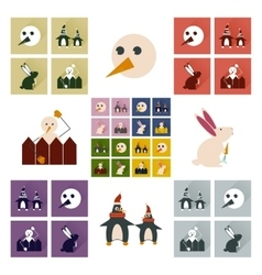 Set of flat icons with long shadow winter vector