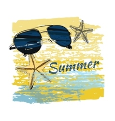 Background summer with lettering shales on sand vector