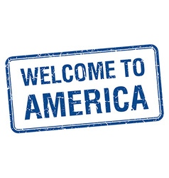 Welcome to america blue grunge square stamp vector