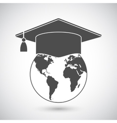 Graduation cap and world globe icon vector
