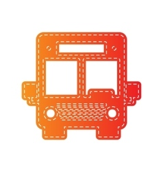 Bus sign  orange applique isolated vector