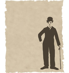 Brown silhouette chaplin on old paper vector